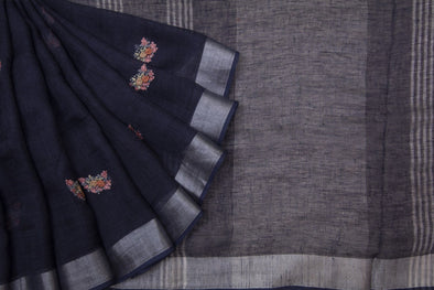 Midnight Blue Linen Floral Embroidery Handloom Saree