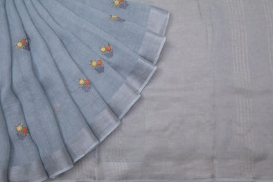 Powder Blue Linen Floral Embroidery Handloom Saree