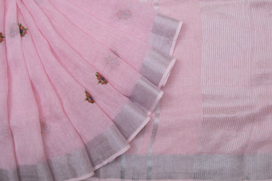 Baby Pink Linen Floral Embroidery Handloom Saree