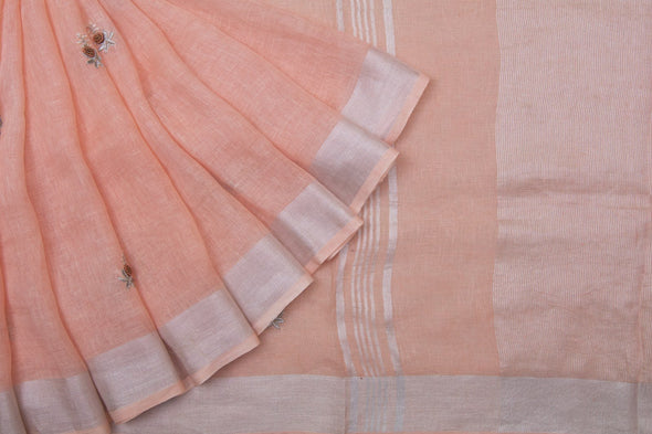 Peach Linen Floral Embroidery Handloom Saree