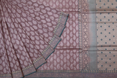 Lilac Brown Banarasi Silk Handloom Saree with Paisley Motifs