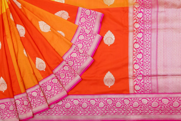Shades of Yellow And Orange Checks Banrasi Silk Handloom Saree