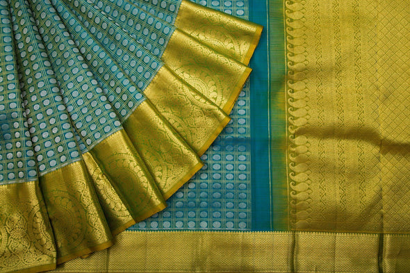 Teal Kanchipuram Silk Handloom Saree With Cheks And Dots