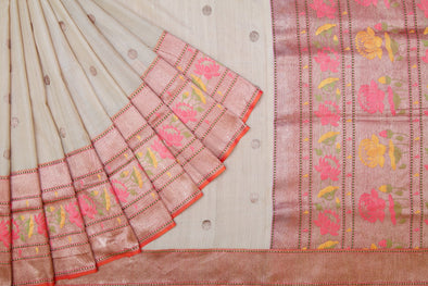 Almond Cream Banarasi Tussar Silk Handloom Saree with Polka Dots