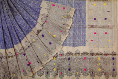 Azure Blue Banarasi Tussar Silk Handloom Saree With Beige Border