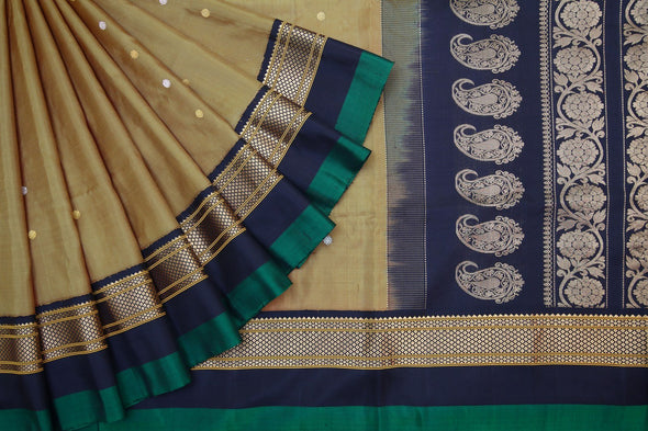 Olive Gold Gadwal Handloom Silk Saree With Floral Buttas
