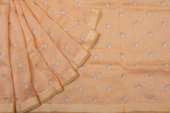 Apricot Orange Linen Floral Embroidery Handloom Saree
