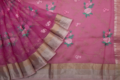 Periwinkle Pink Organza Embroidery Designer Saree