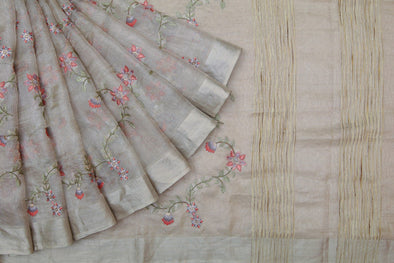 Silver Tissue Silk Embroidered Saree With Floral Jaal