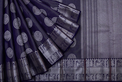 Midnight blue Kanchipuram Silk Handloom Saree With Peacock Motifs