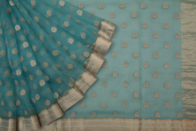 Pastel Sea Blue Organza Embroidery Designer Saree