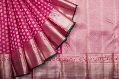 Pink Kanchipuram Silk Handloom Saree With Paisley Motifs