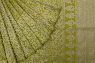 Apple Green Kanchipuram Silk Handloom Saree With Animal Jaal