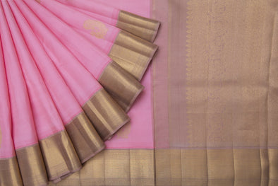 Bubblegum Pink Kanchipuram Silk Handloom Saree With Peacock Motifs