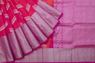 Fuschia Pink Venkatagiri Silk Handloom Saree With Silver Motifs