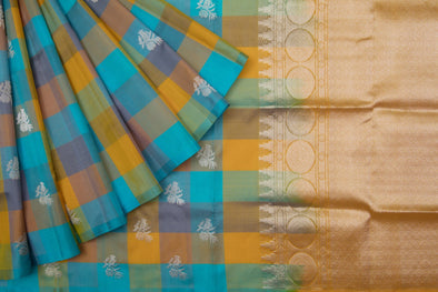 Multicolor Checks Venkatagiri Silk Handloom Saree With Bird Motifs