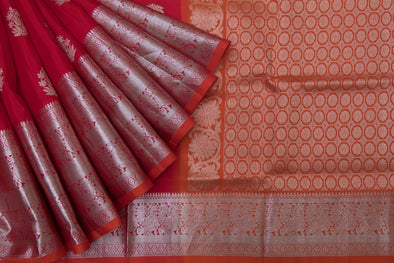 Cherry Red Venkatagiri Silk Handloom Saree With Floral Motifs
