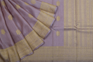Dusky Pink Kanchipuram Silk Handloom Saree With Floral Motifs