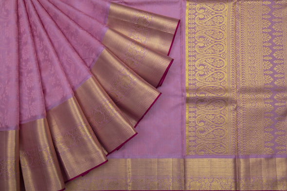 Bubblegum Pink Kanchipuram Silk Handloom Saree With Floral Jaal