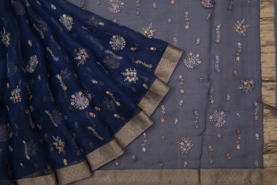 Navy Blue Organza Embroidery Designer Saree With Floral Buttas