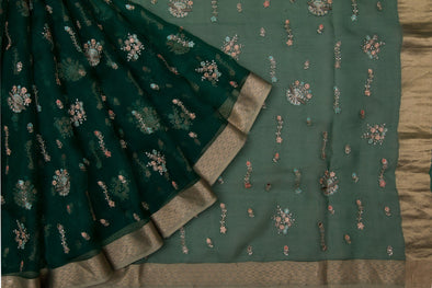 Forest Green Organza Designer Embroidery Saree With Floral Motifs