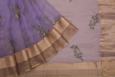 Lavender Organza Designer Embroidery Saree With Floral Buttas