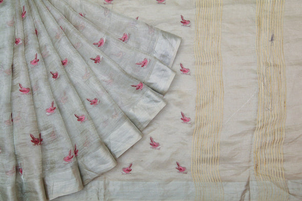 Silver Tissue Silk Embroidered Saree With Birds
