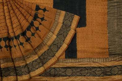 Mustard Gold Tussar Silk Printed Handloom Saree