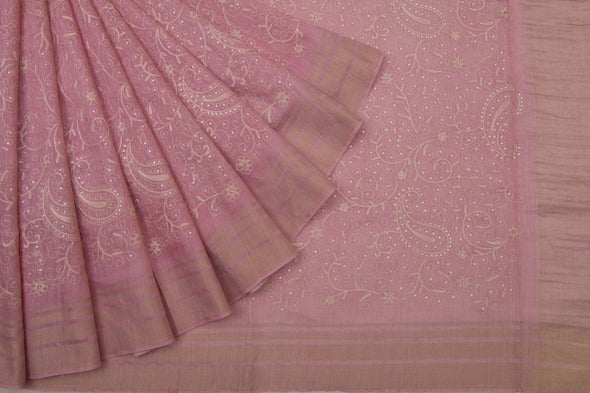 Pastel Pink Tussar Embroidery Handloom Saree