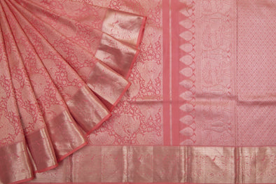 Salmon Pink Kanchipuram Silk Handloom Saree With Intricate Jaal Design