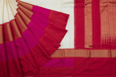Oyester White Kanchipuram Silk Handloom Saree