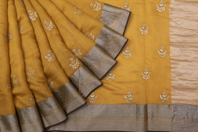Mustard Yellow Tussar Embroidery Handloom Saree