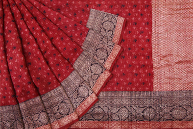Reddish Brown Tussar Silk Printed Handloom Saree With Elephant Motifs