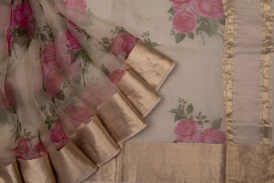 Butter Yellow Floral Printed Organza Designer Saree