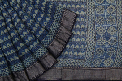 Linen Prussian Blue Printed Handloom Saree