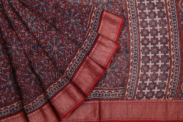 Deep Red Linen Printed Handloom Saree