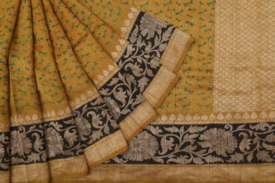 Golden Olive Tussar Silk Printed Handloom Saree