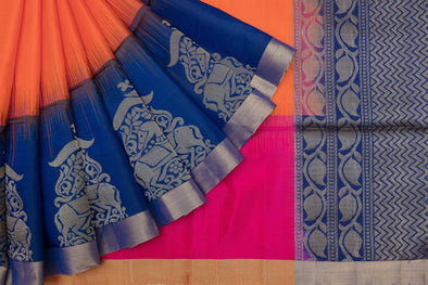 Bright Tangerine and Rani Pink Half And Half Kanchipuram Soft Silk Handloom Saree