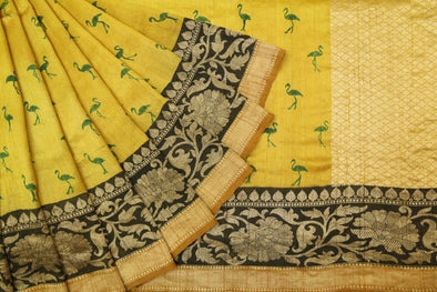 Golden Lime Tussar Silk Printed Handloom Sarees With Flamingo Motifs