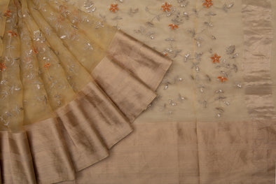 Butter Yellow Organza Embroidery Designer Saree with Floral Jaal