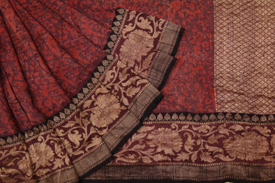 Brown Tussar Silk Printed Handloom Saree With Floral Jaal