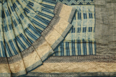 Light Sage Green Tussar Silk Printed Handloom Saree