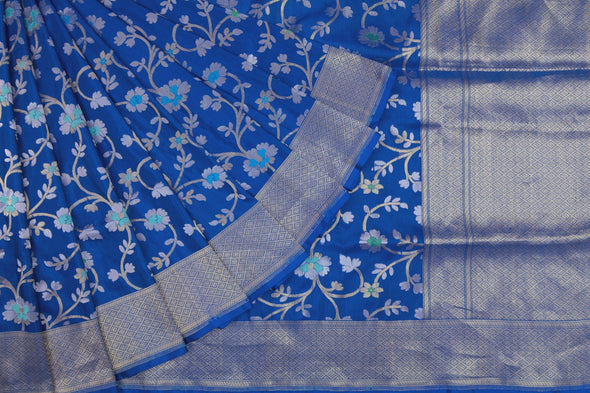 Royal Blue Banarasi Silk Handloom Saree With Floral Jaal