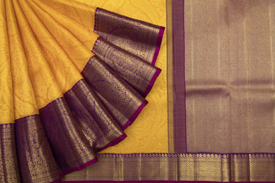 Turmeric Yellow Kanchipuram Silk Handloom Saree With Jaal