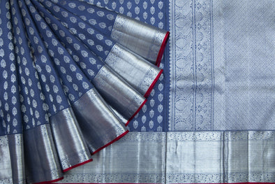 Dusky Blue Kanchipuram Silk Handloom Saree With Floral Motifs