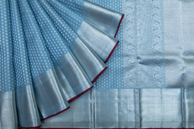 Patel Blue Kanchipuram Silk Handloom Saree With floral Buttas