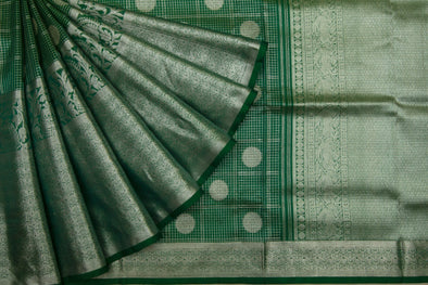 Emerald Green zari Checkered Venkatgiri Silk Saree