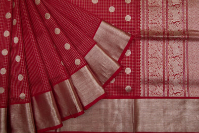 Vermillion Checkered Venkatgiri Silk Saree