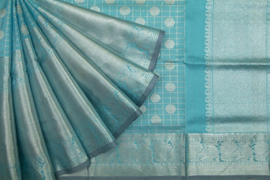 Tiffany Blue Venkatgiri Silk Saree