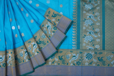 Cyan Blue Kanchipuram Silk Handloom Saree With Peacock Motifs